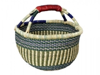 "Medium Round Basket (w/ Leather Handle) (G-157) 11"" - 14"" diameter"