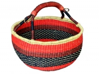 "Round Basket (With Leather Handle) (G-159A)   16"" - 18"" diameter"
