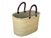"NATURAL Color Oval Basket w/ Leather Handles (G-130)  16""- 20"" long x 8""- 10"" wide x 10""- 12"" tall"