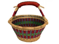 "Fruit Basket (With Leather Handle) (G-156)    12"" - 13"" diameter"