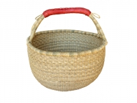 "Large Round Basket w/ Leather Handles NATURAL COLOR (G-138A)   16"" - 18"" diameter"