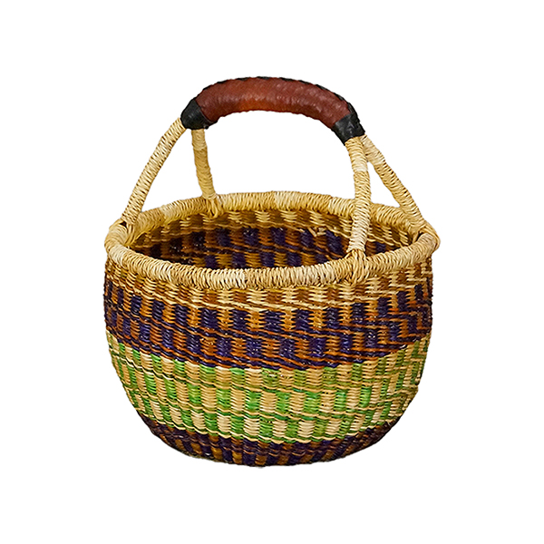 African market basket tote teal rust blue leather handle 12 wide 11 tall 7 deep oblong tribal global ethnic boho decor carry