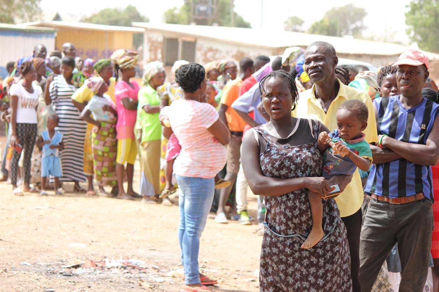 Villagers lined up to get registered