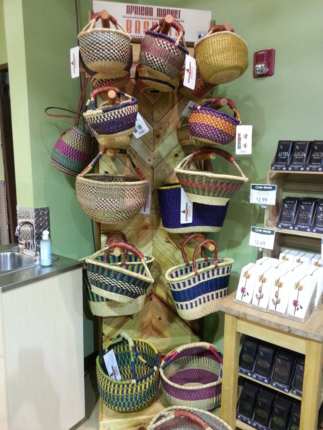 Bolga baskets grab your attention even when tucked into corners