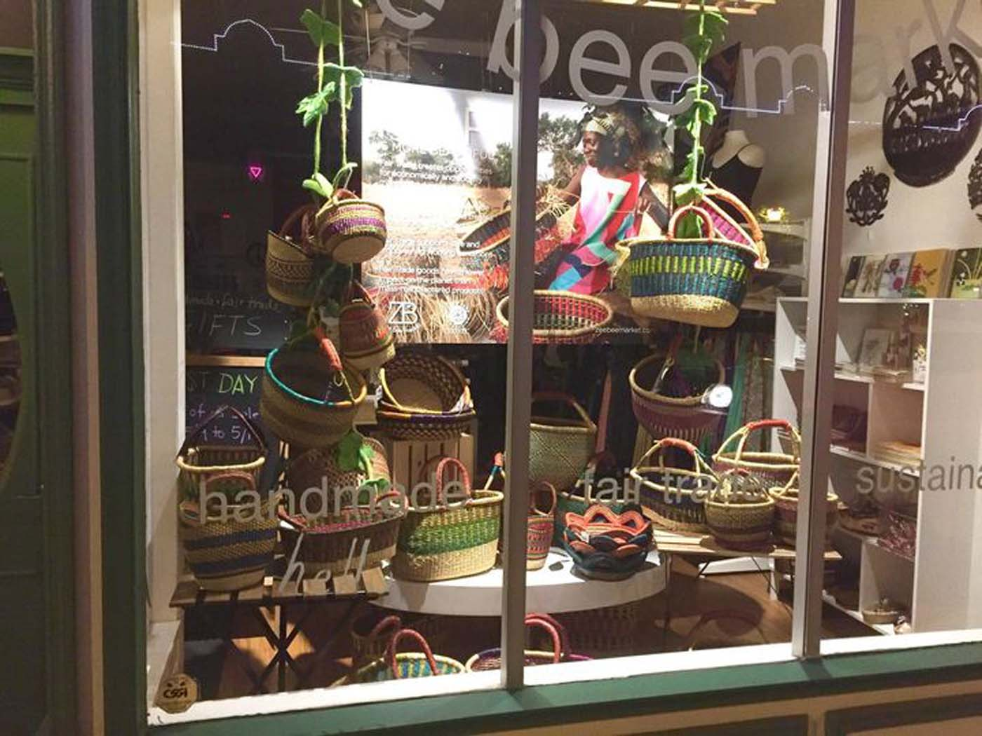 An attractive window display incorporating one of our free images of the weavers