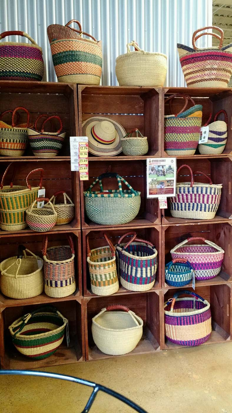 Wooden crates provide a perfect backdrop for baskets