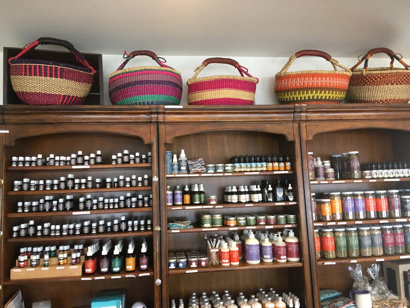 Displaying baskets up high in stores is a very effective use of space