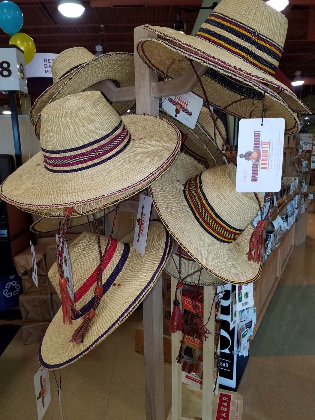 Bolga hats can be hung easily on existing displays