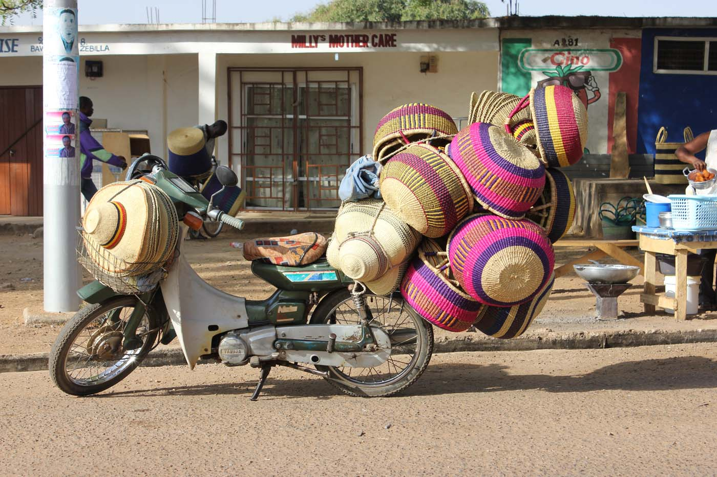 Motorbikes carry more baskets than you can imagine