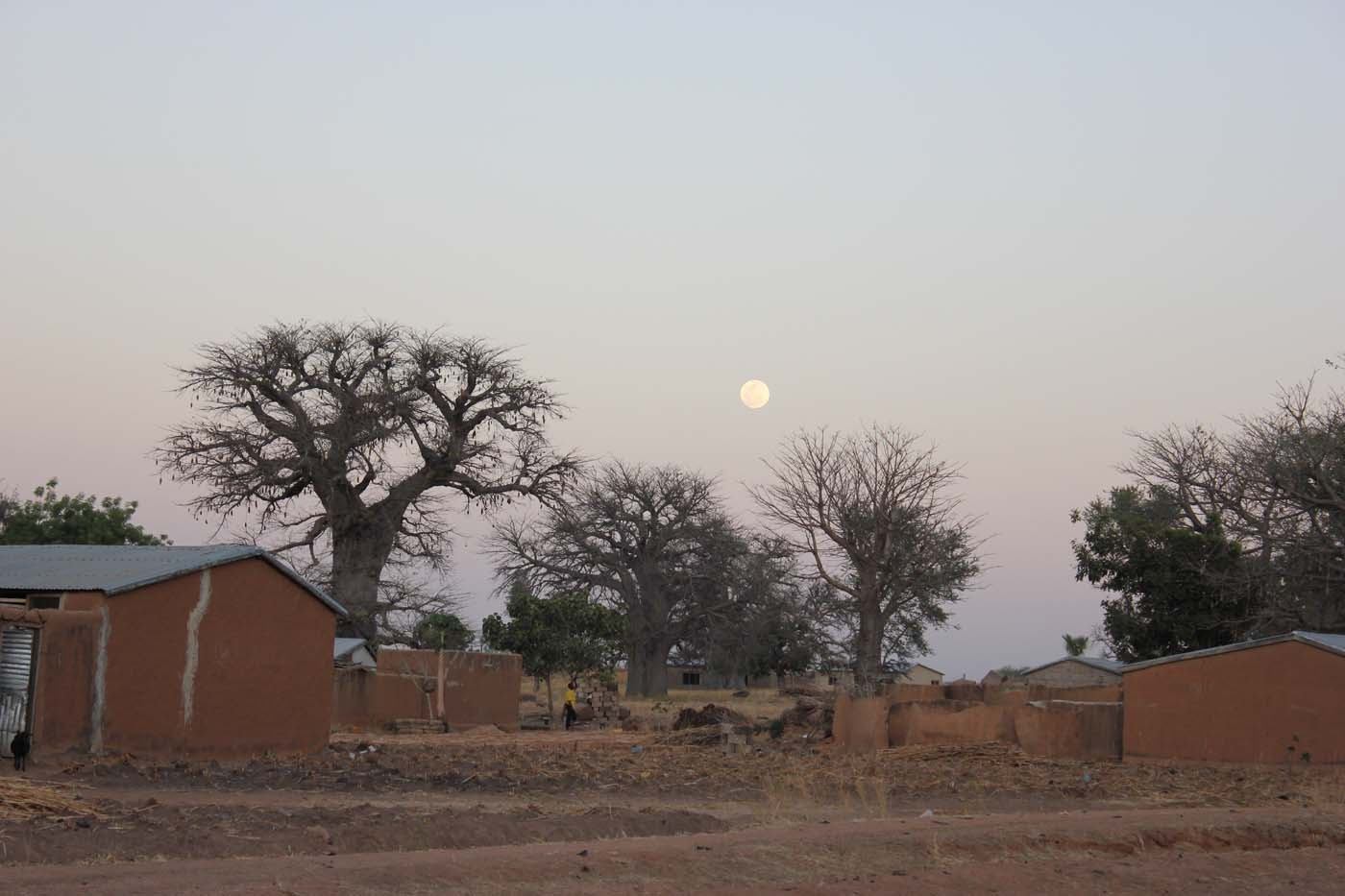 View of the bright moon rising