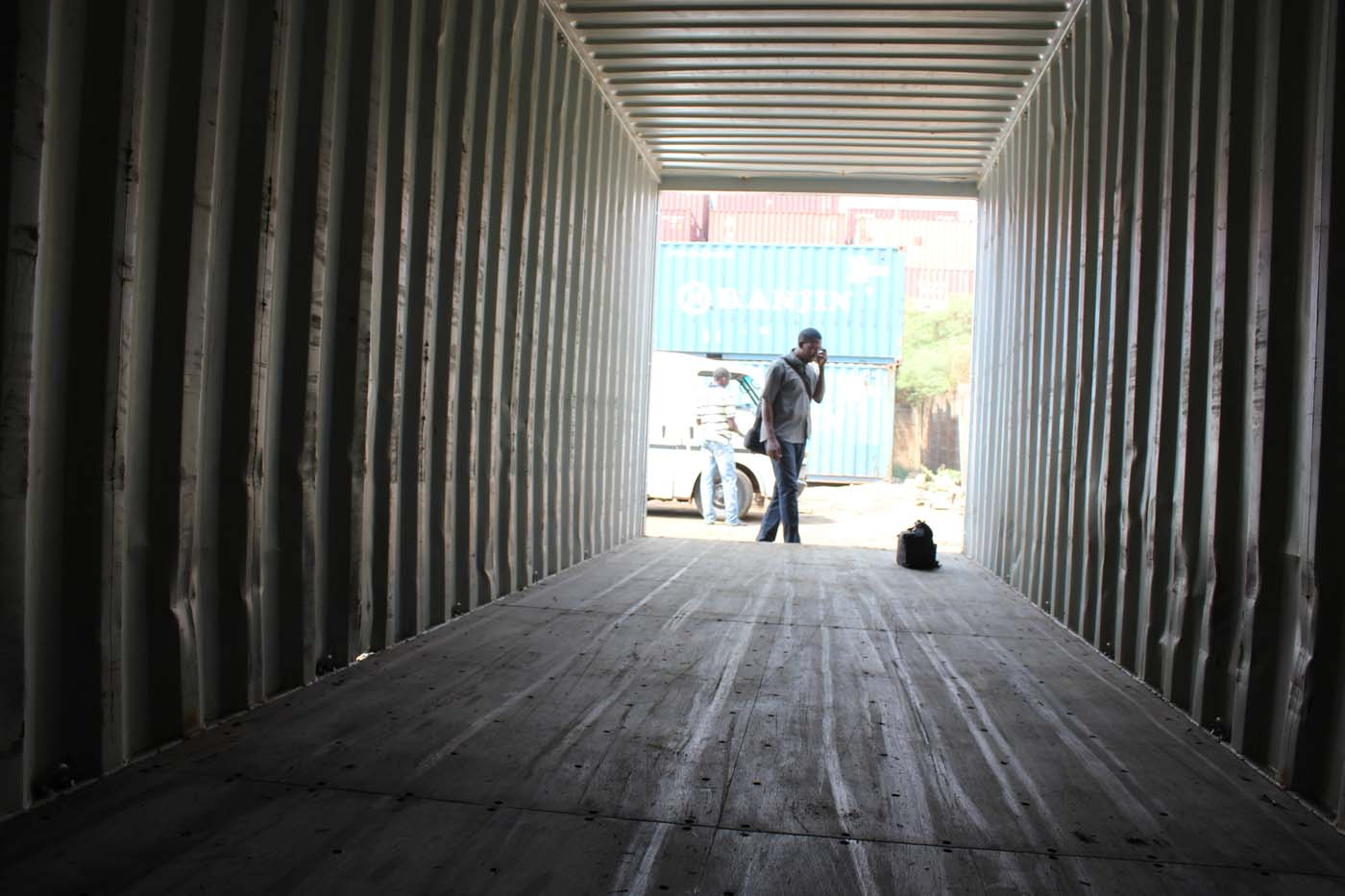 Inspecting the shipping container