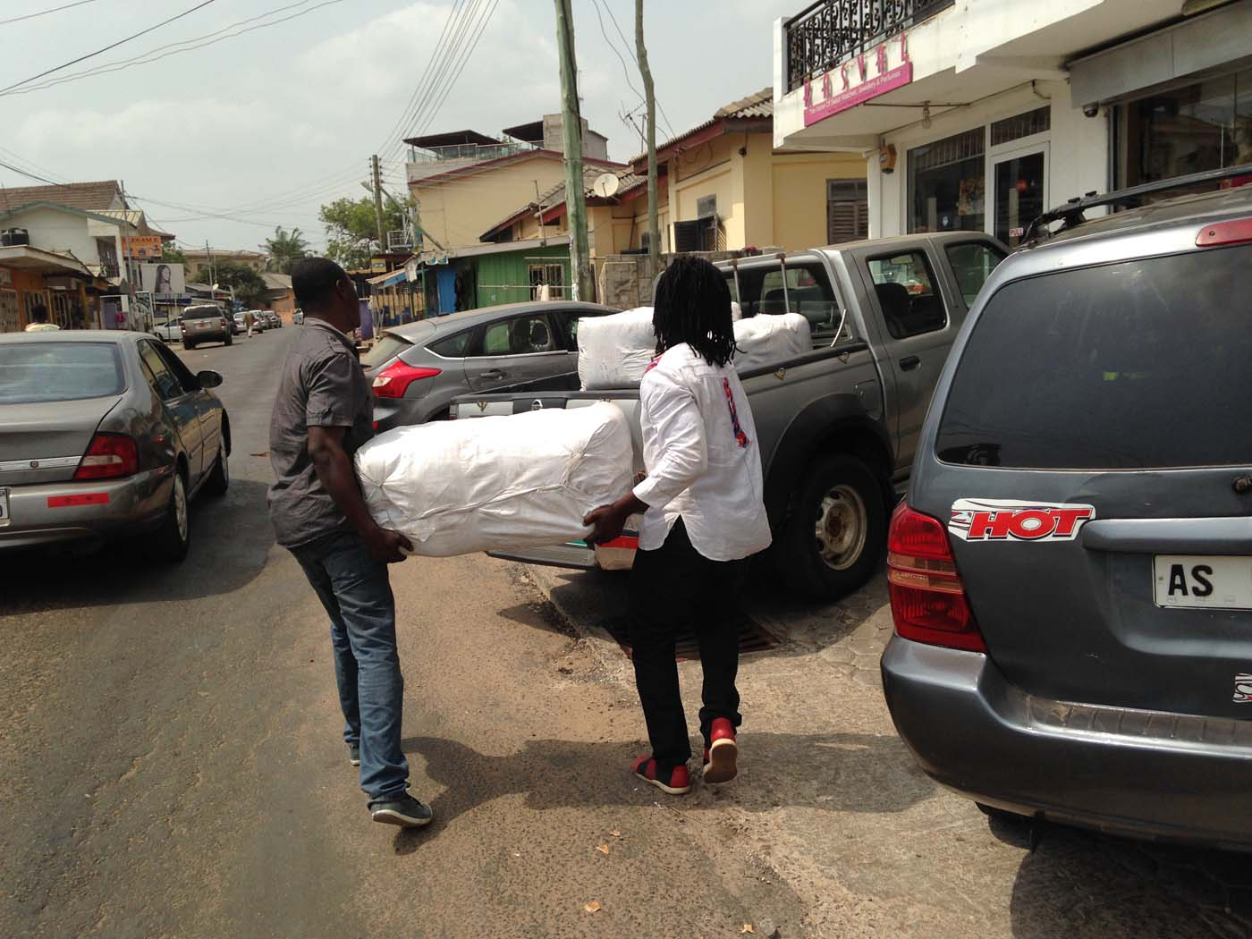 Buying mosquito nets in Accra