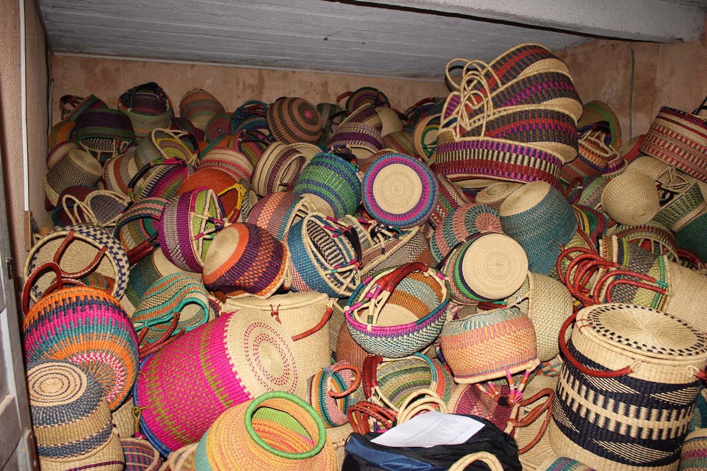Storage of baskets at our Bolga warehouse