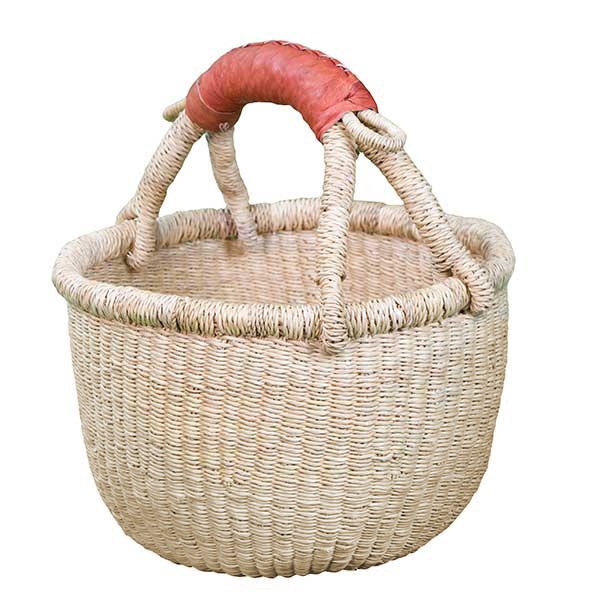 G-150N-2 Basket with leather handle from Africa